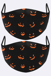 Mini Scary Faces Print Face Mask Cover
