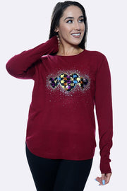 Multi Hearts Diamante Pattren Long Sleeve Jumper