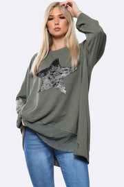 Oversized Sequin Star Detail Panelled Top