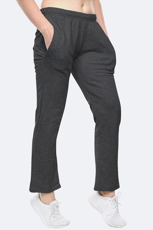 Ladies Fleece Full Length Open Hem Joggings