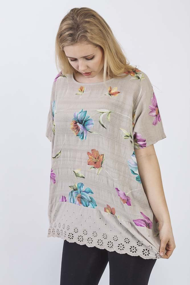 Arwen Linen Crochet Embroidered Hem Top - Love My Fashions - Womens Fashions UK