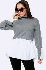 Plain Flared Hem High Neck Knitted Jumper