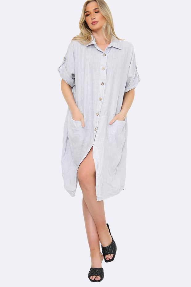 Italian Linen Side Pocket Shirt