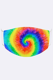 Unisex Rainbow Spiral Tie Dye Digital Print 2 Ply Cotton Face Mask Cover