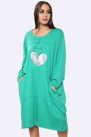 Italian Cotton Be Kind Text Foil Heart Print Panel Dress