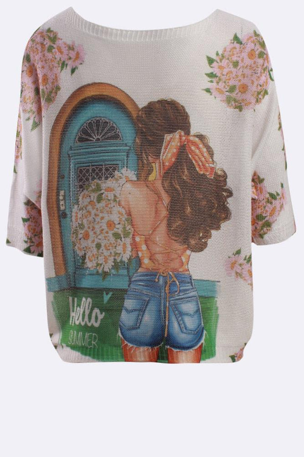 Neve Hello Summer Slogan Print Baggy Jumper - Love My Fashions - Womens Fashions UK
