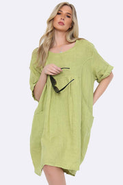 Italian Yoke Neck Linen Top