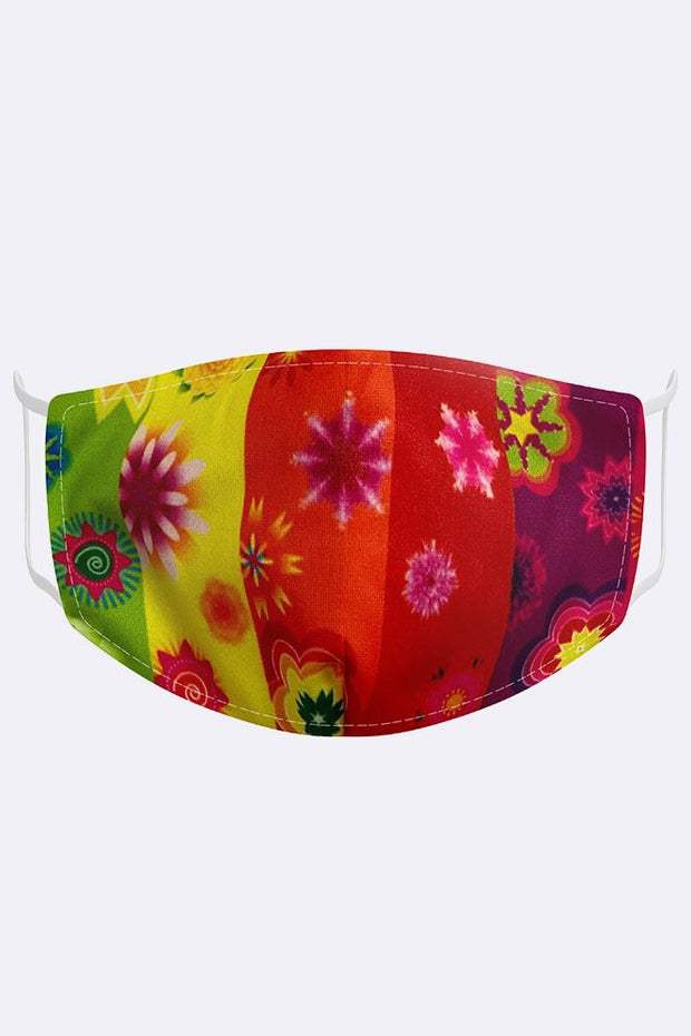 Kids Rainbow Floral 2 Ply Digital Print Cotton Face Mask