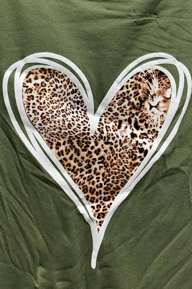 Italian Leopard Heart Side Pocket Top
