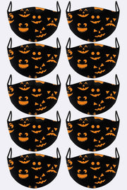 Funny Pumpkin Faces Print Face Mask Cover