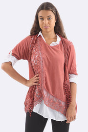 Yazmin Cotton Lace 3 Pcs Layered Scarf Shirt Top