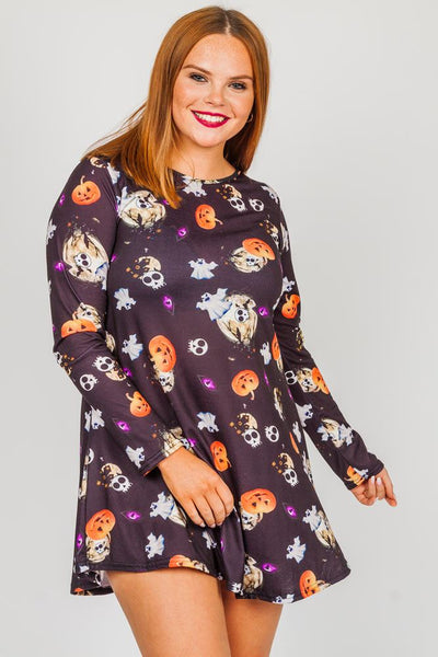 Kacie Halloween Skull Ghost Prints Swing Dress