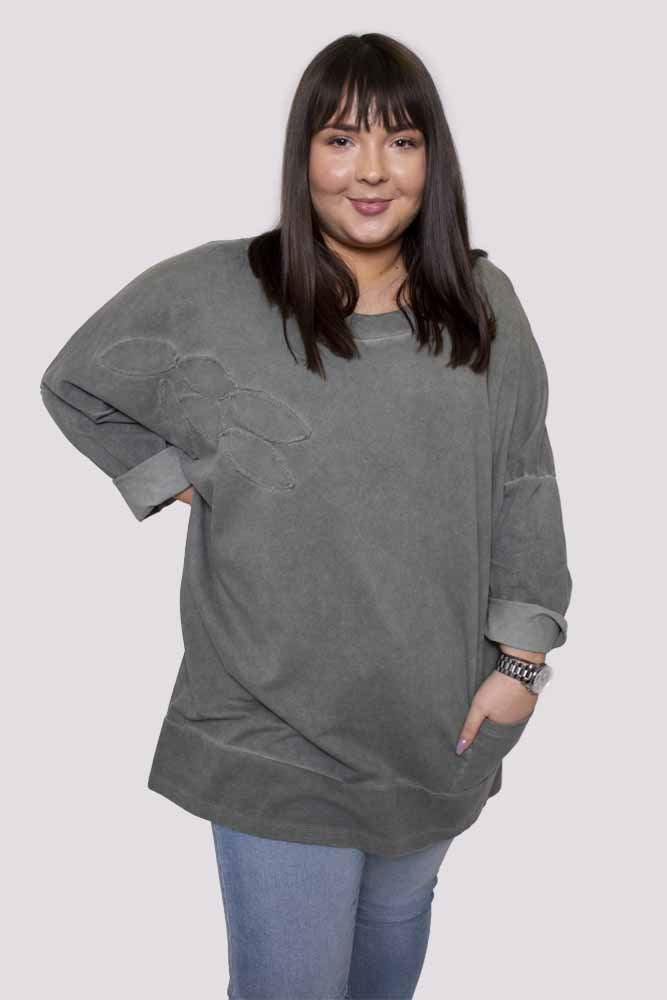 Hajrah Cotton Ribbed Leaf Pattern Top - Love My Fashions - Womens Fashions UK