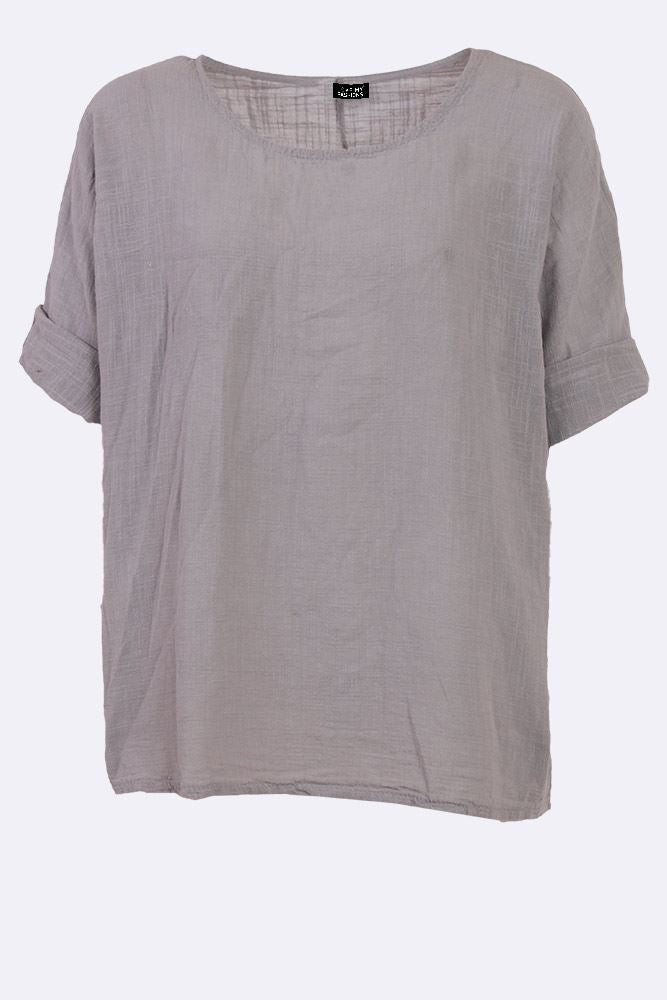 Karla Cotton Textured Plain Top - Love My Fashions - Womens Fashions UK