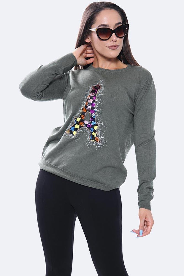 Multi Diamante Eiffel Tower Long Sleeve Jumper