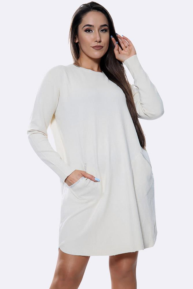 Plain Diamante Trim Pocket Long Jumper