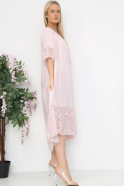Italian Tassel Tie Neck Lace Trim Tiered Dress