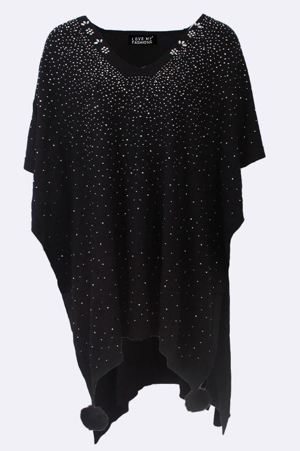 Aisha Diamante All Over Textured Flower V-neck Poncho - Love My Fashions - Womens Fashions UK