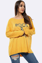 Italian Wool Rock & Love Tiger Texture Text Print Top