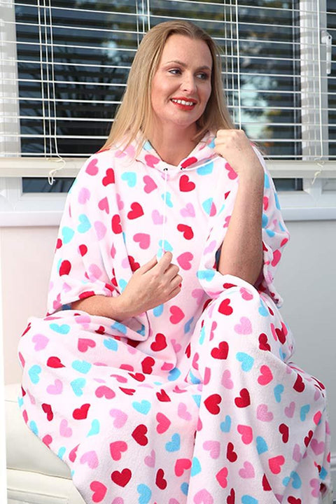 Bryanna Heart Print Hooded Fleece Poncho Blanket