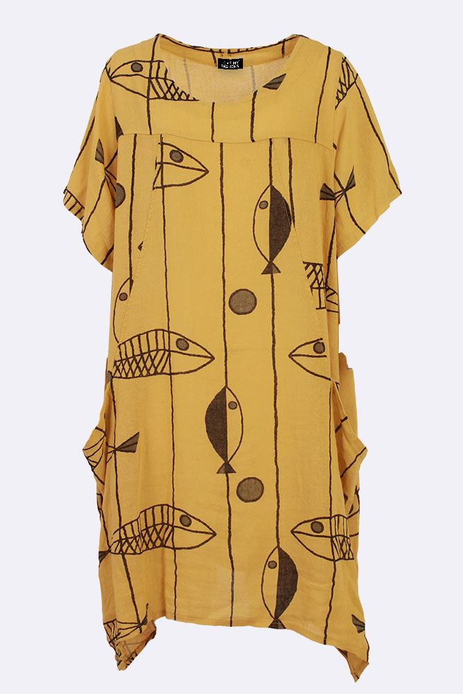 Marta Linen Lagenlook Fish Line Bubble Hem Pocket Dress - Love My Fashions - Womens Fashions UK