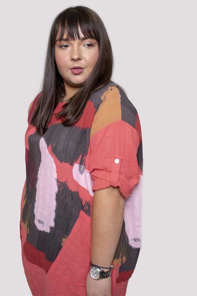 Bethany Panel Abstract Paint Print Top - Love My Fashions - Womens Fashions UK
