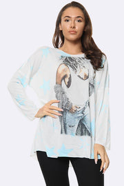Italian Fashion Model Star Print Tunic Top
