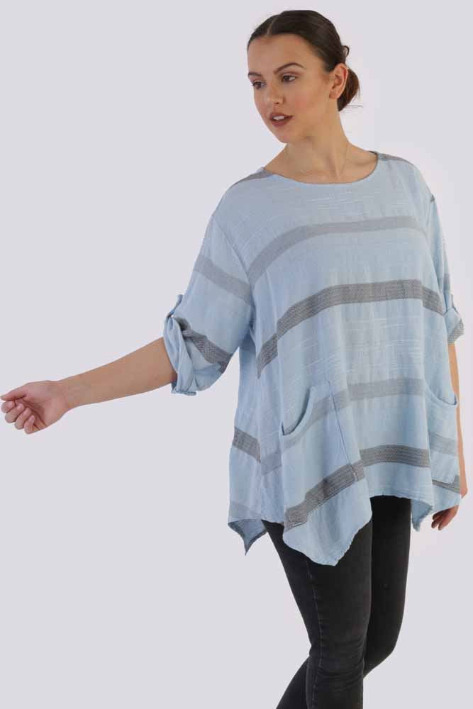 Alexandra Cotton Stripe Hanky Top - Love My Fashions - Womens Fashions UK
