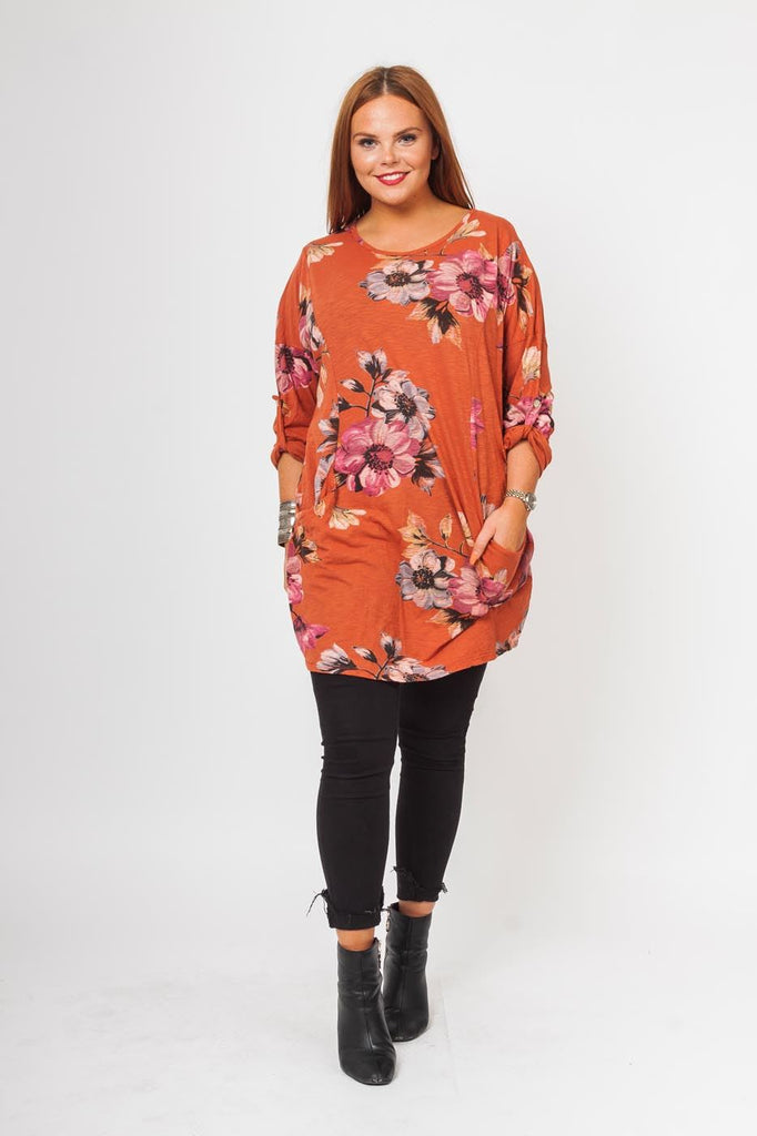 Kimberley Cotton 2 Pocket Floral Top - Love My Fashions - Womens Fashions UK