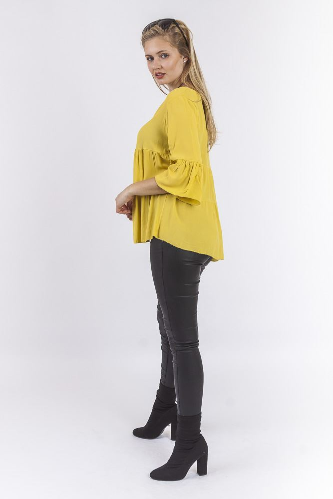 Trinity Viscose Fluted Sleeve Paneled Necklace Top - Love My Fashions - Womens Fashions UK