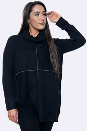 Diamante Panel High Neck Long Soft Jumper