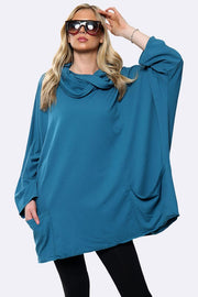 Italian Cotton Cowl Neck Plain Baggy Top