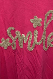 Italian Smile Applique Motif Oversized Top