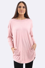 Alayna Beads Sides Two Front Pocket Stripe Neckline Jumper