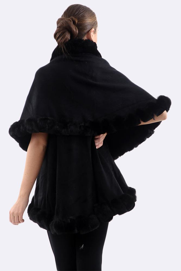 Eileen Soft Fluffy Cuffs Cape Poncho