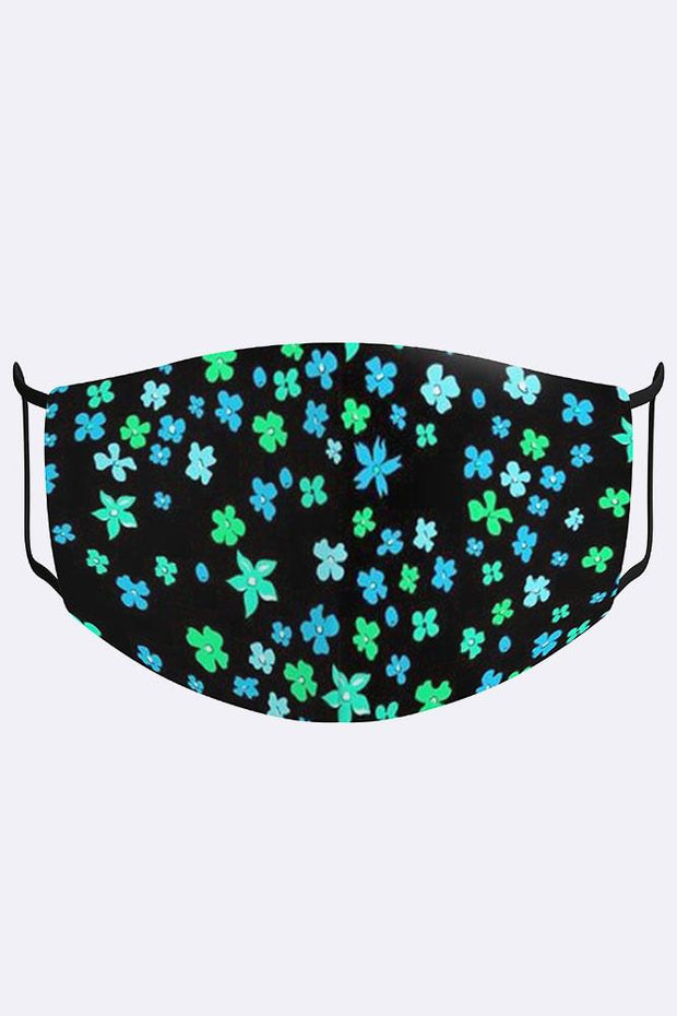 Mini Clover Leaves Print Digital 2 Ply Cotton Face Mask Cover