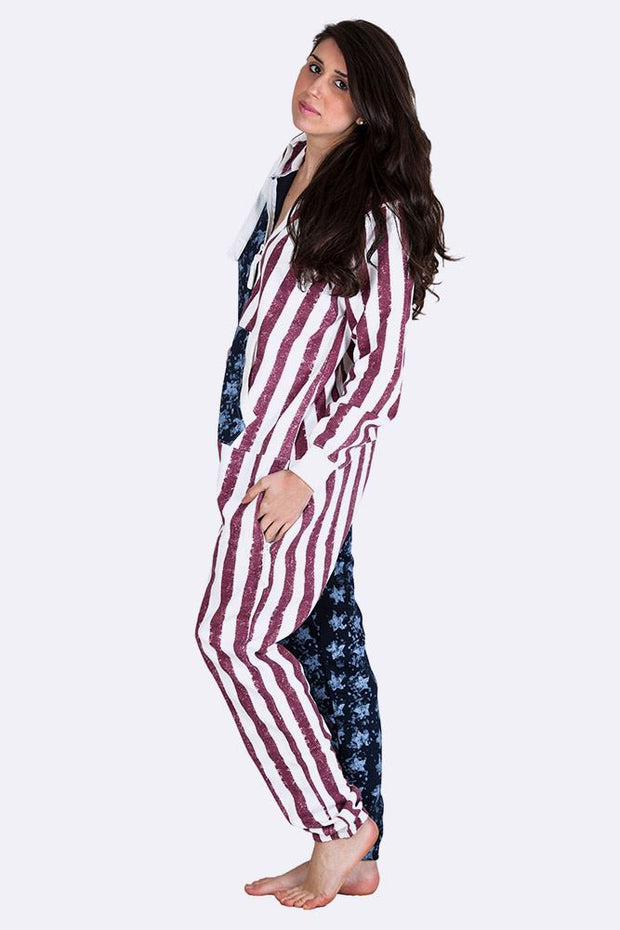 Roxana Hooded Usa Flag Print Onesie - Love My Fashions - Womens Fashions UK