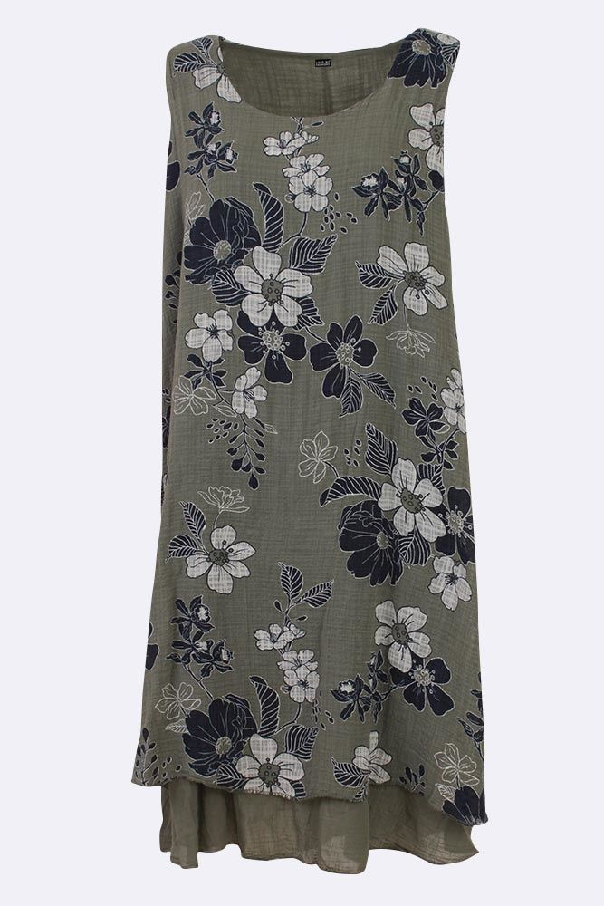 Nicolette Cotton Floral Layered Sleeveless Midi Dress - Love My Fashions - Womens Fashions UK