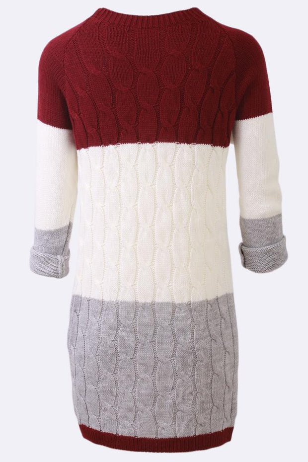 Hayley Chunky Cable Knit Crew Neck 3 Tones Dress