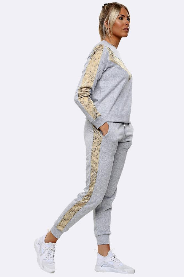 Snake Print Side Panel Loungewear Tracksuit