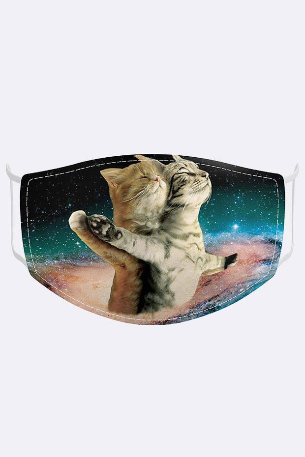 Unisex Funny Cats Space Titanic Digital Print 2 Ply Cotton Face Mask Cover