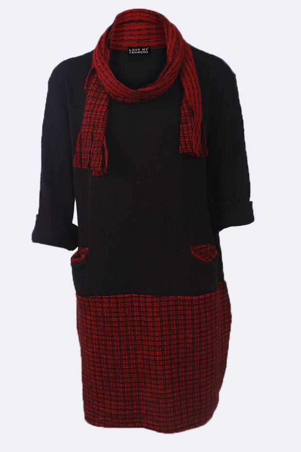 Emaan Contrast Checked Print Pannel Scarf Pocket Dress