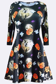 Girls Printed Halloween Swing Dress_grwo