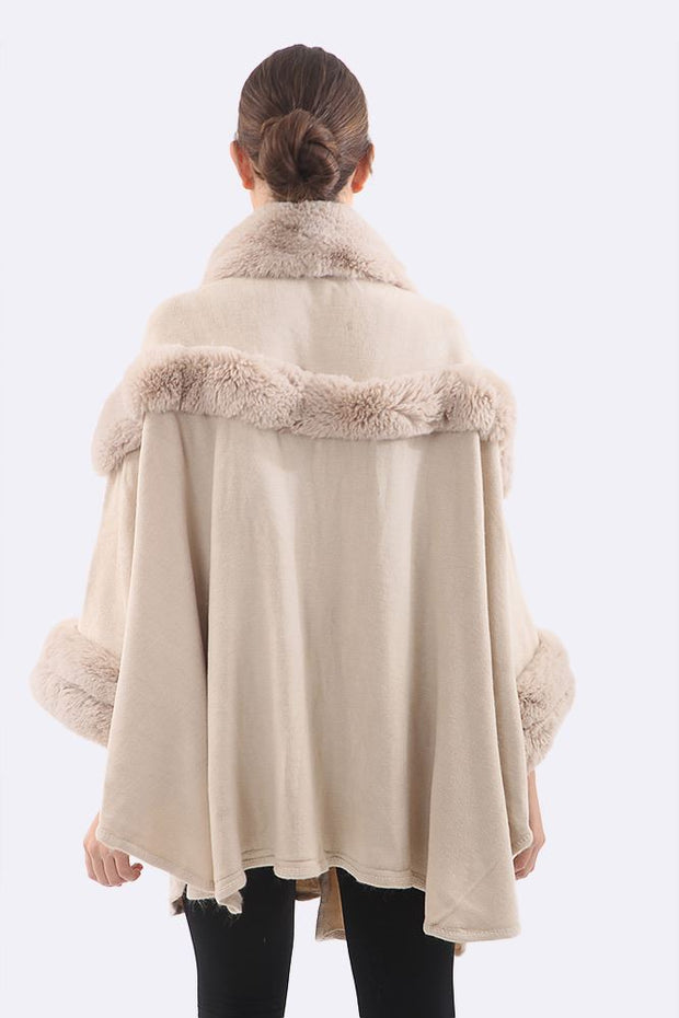 Saanvi Faux Fur Border Cape Poncho