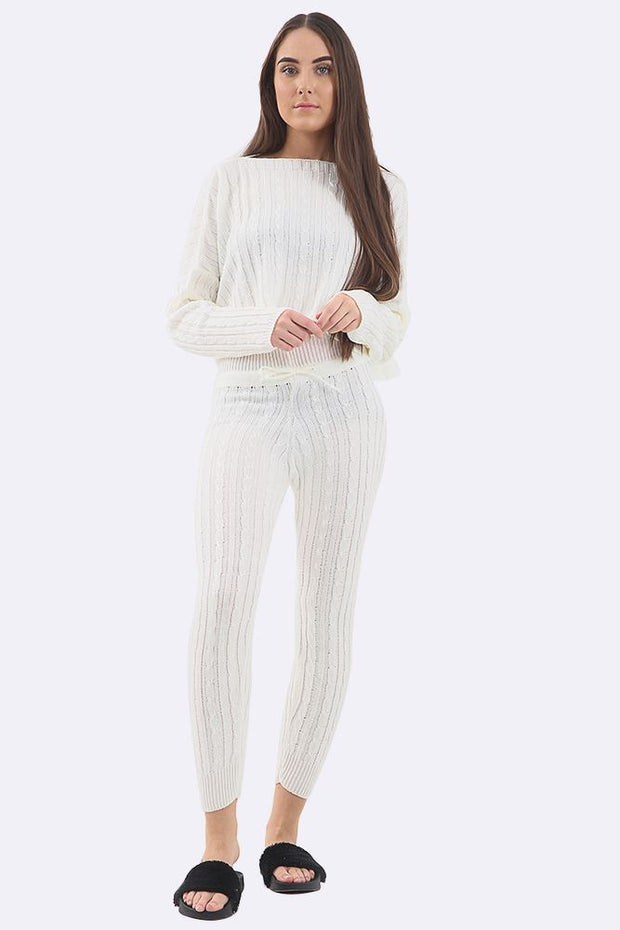 Lesly Cotton Cable Knitted Tracksuit