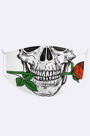 Unisex Skull Rose Digital Print 2 Ply Cotton Face Mask Cover