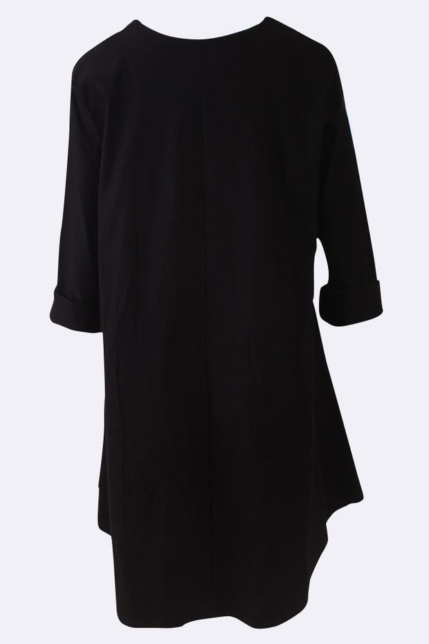 Viktoria Plain Patchwork Long Sleeve Swing Dress