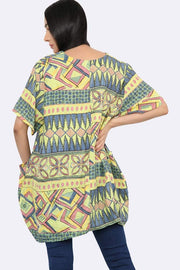 Italian Aztec Print Pocket Top