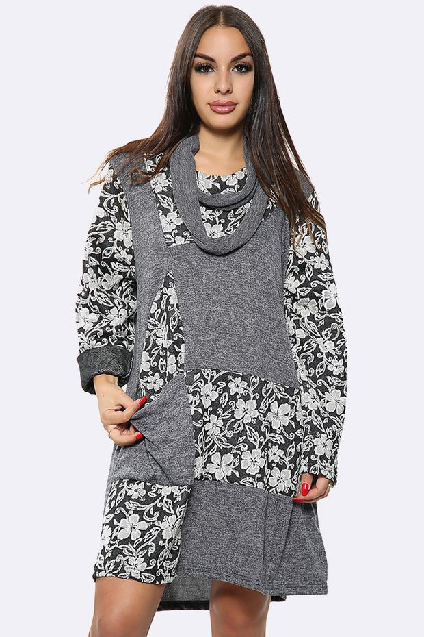 Italian Cotton Floral Patchwork Front Pocket Scarf Dress