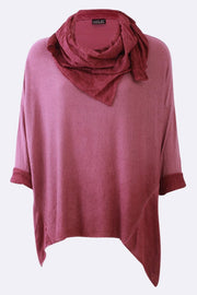 Ashley Plain Hanky Hem Scarf Top